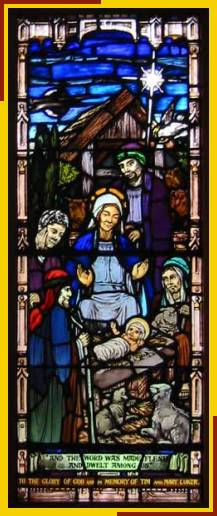 Nativity window dedicated to Tim & Mary Luker
