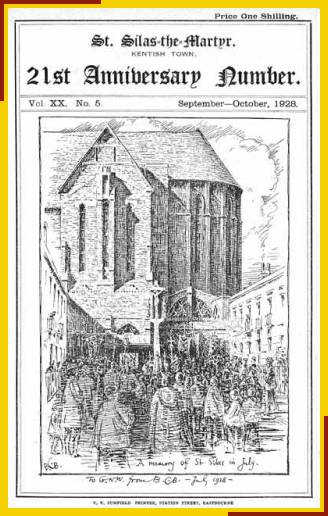 Drawing by Benjamin Boulter toward the south porch with a procession in St. Silas PLace.