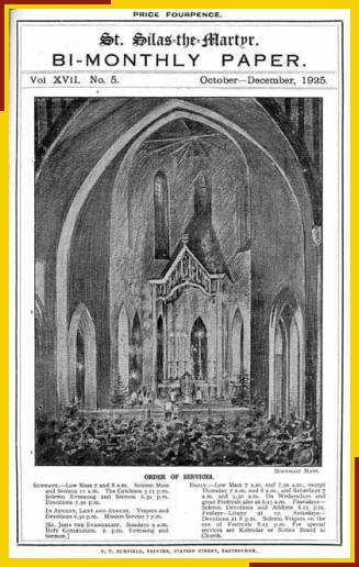 Drawing by Benjamin Boulter of east end and High Altar for the Christmas Midnight Mass