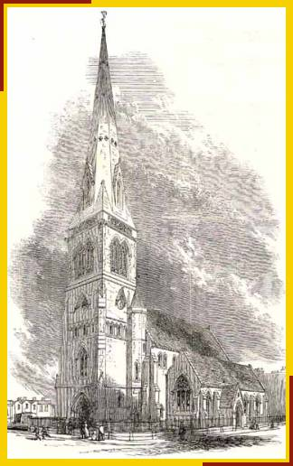 Drawing of original church with spire