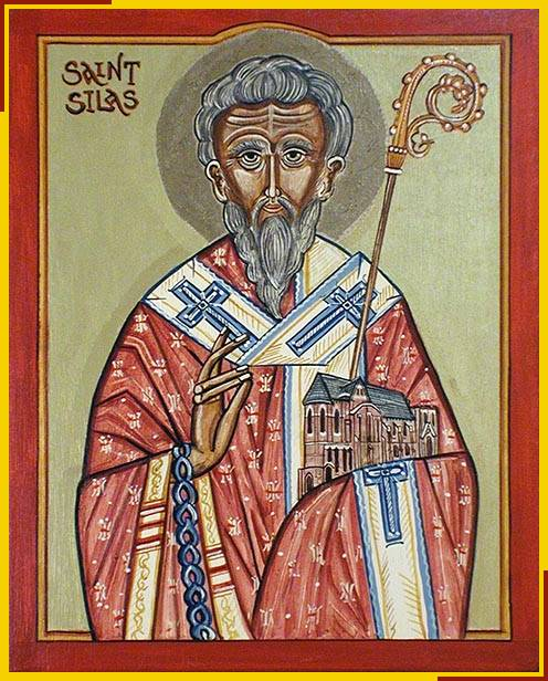 Icon of Saint Silas at S. Silas, Kentish Town holding a model of the church
