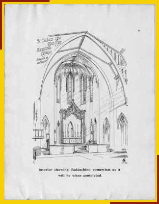 Interior showing Baldachino somewhat as it will be when completed. (Drawing by Ernest Charles Shearman, Architect)