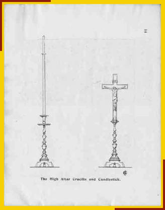 The High Altar Crucifix and Candlestick. (Drawing by Ernest Charles Shearman, Architect)
