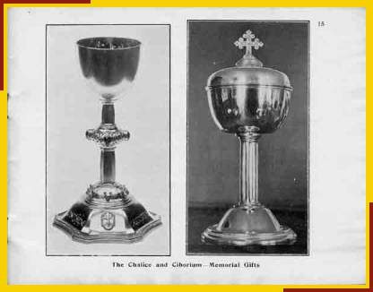 The Chalice and Ciborium - Memorial Gifts.