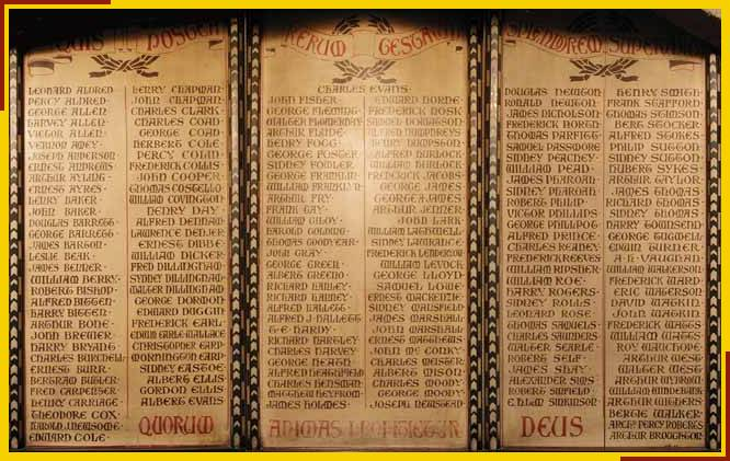 War Memorial board in the south porch.
