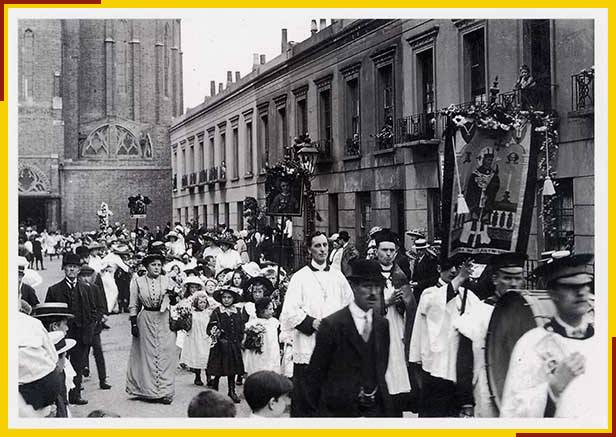 7. Copy of vintage postcard - street procession